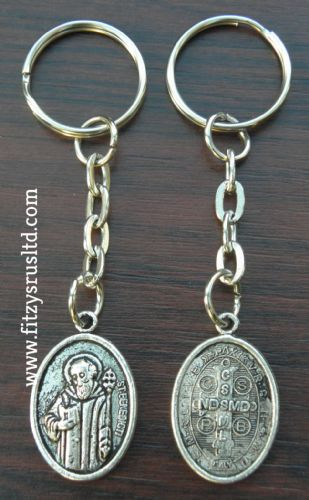 10 x Saint Sanct St Benedict Keyring Religious Key Ring